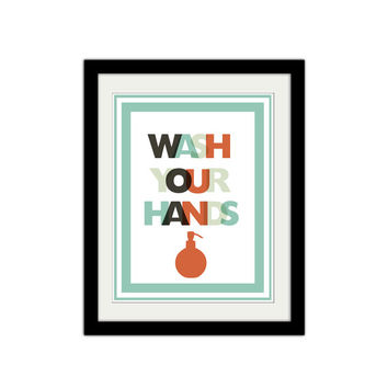 "Wash your hands. Bathroom Poster. Kids bathroom Poster. Reminder Poster. Soap. Quote Poster. 8.5x11"" Print"