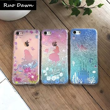 Ruo Dawn Relief Mermaid Phone Cases For iphone 6 6S 7 8 Plus X Soft TPU Shell Fashion Transparent Cover Mobile Protection Coque