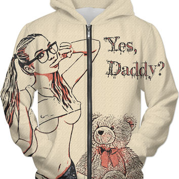 Adult series, unisex fit hoodie - Yes, Daddy? Sweet submissive blonde, nerdy