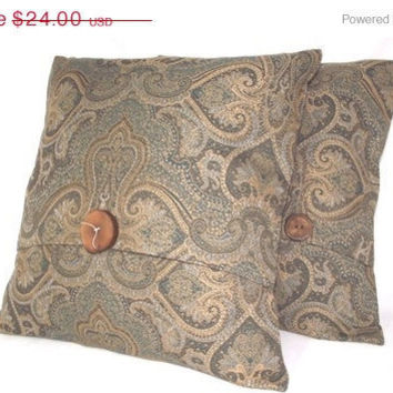 ON SALE Pillow Cover Edwardian Pattern Blue and Tan Paisley Print , wooden accent
