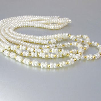 Three Strand Pearl Necklace. Freshwater Cultured Pearl Gold Bead Multi Strand Necklace. 14K Yellow Gold.