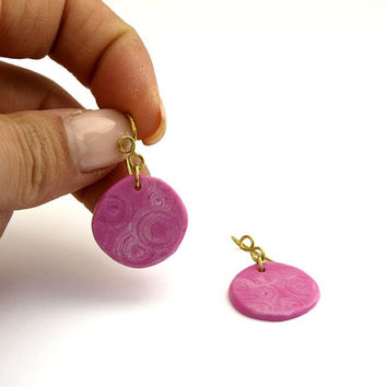 Small Pink Round Earrings, Dainty Fuchsia Earrings, OOAK