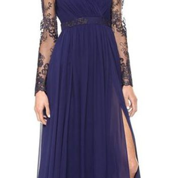 Women Long Sleeve Bodycon Evening Party Lace Formal Cocktail Maxi Dress Dark Blue