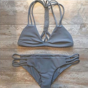 Dark Gray Bandage Bikini Set Swimsuit Beach Bathing Suits For Women