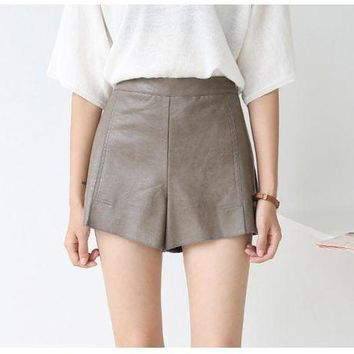 VONE05WA High quality nova pu short de couro para mulheres high elastic waisted jupe culotte cuir femme women sexy leather shorts skirts