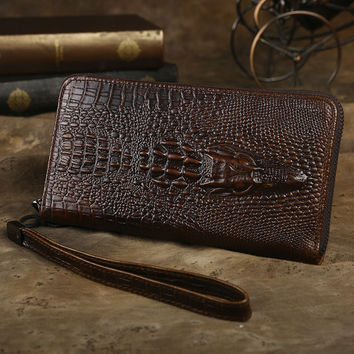 Brand Design Men Business Vintage Long Wallet Genuine Cow Leather Crocodile Pattern Style Male Purse Casual Clutch Hand Bags