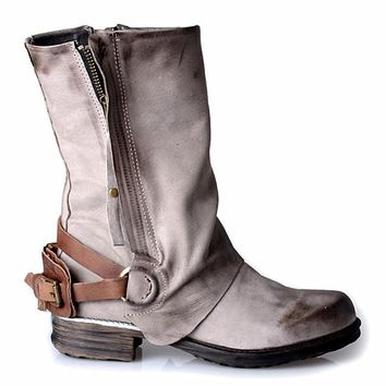 Hand Made High Quality Natural Leather Mid-Calf Side Zipper Boots with Back Buckle Strap