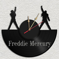 Freddie Mercury Theme Vinyl Record Clock Upcycled by geoartcrafts