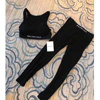 Balenciaga Fashion Sport Gym Tank Top Black Legging Set Two-Piece