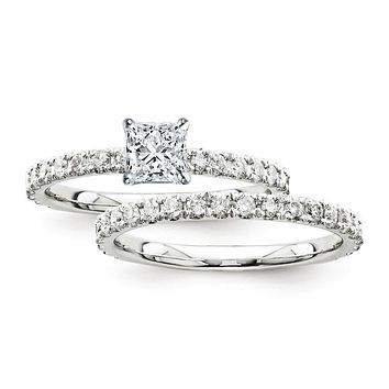 Certified 1.70 Ct. Princess Diamond Bridal Engagement Ring Set with Side Stones in 14K White Gold