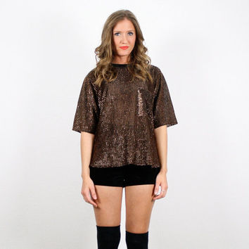 Vintage Gold T Shirt Bronze Blouse Metal Metallic Top Pocket T Shirt Glam 1980s 80s Copper TShirt  New Years Eve Party Dress Top L Large