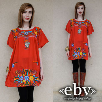 Vintage 70s Red Mexican Embroidered Hippie Boho Mini Dress Tunic L XL