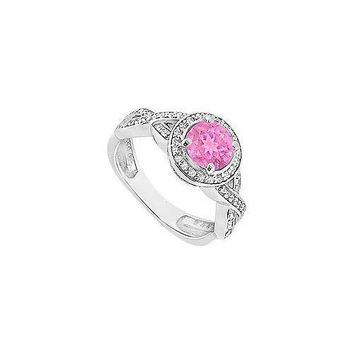 Pink Sapphire and Diamond Halo Engagement Ring : 14K White Gold - 1.40 CT TGW
