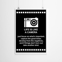 Life is Like A Camera Print , Camera Print , Black and White , Camera , Motivational Print , Wall art