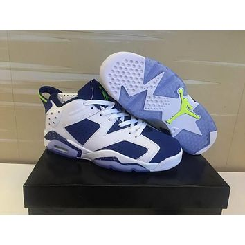 Nike Air Jordan 6 Retro Low 3m White/blue Sneaker Shoe Size Us 5.5-13 - Beauty Ticks
