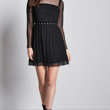 Polka Dot Mesh Shift Dress