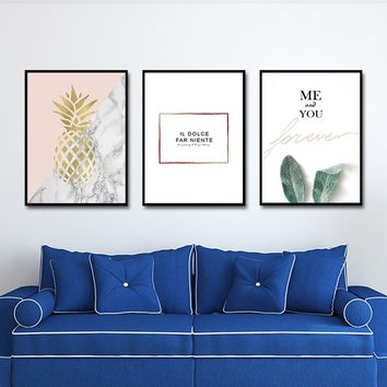 Text & Quote Pineapple Plants letters Canvas Painting Art Print Wall Art Wall Poster for Living Room Bedroom CP1001