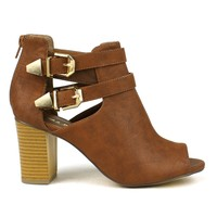 Mark and Maddux Eddi-02 Cut-out Short Heel Bootie in Cognac @ ippolitan.com