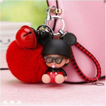 LMFONFI 2017 new cartoon bunny mouse Dolls real Fur Pom Pom pompom ball Ladybug Keychain Key Chain ring Lady Bag car Pendant Porte Clef