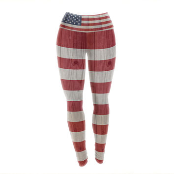 "Bruce Stanfield ""USA Flag On Spruce"" Blue Red Yoga Leggings"