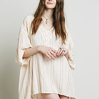Free People Womens Yard Dye Stripe Beach Drawstring Tunic