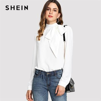 SHEIN White Elegant Workwear Mock Neck Bow Embellished Stand Collar Long Sleeve Solid Blouse Summer Women Casual Shirt Top