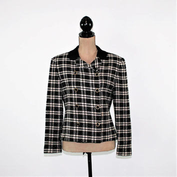 Double Breasted Jacket Black Plaid Blazer Women Petite Medium Wool Blend Tweed Jacket Size 8 Jacket Talbots Vintage Clothing Womens Clothing