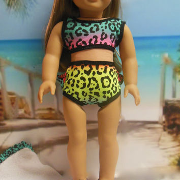 "American girl doll clothes ""Wild!"" (18 inch) Swimsuit bathing suit OOAK towel  beach sandals Lee and Pearl Retro Ruffles Swimsuit leopard"