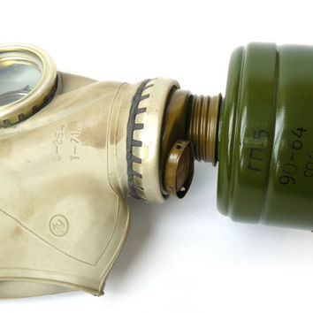 Vintage Soviet gas mask, adult size 1U, M-L, steampunk cyber mask, respirator, Grey gas mask GP - 5, with a new filter