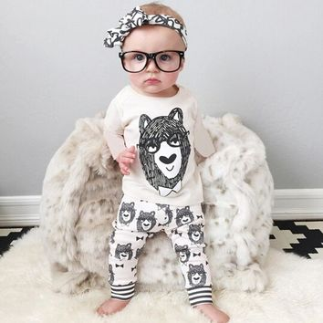 Spring autumn children's clothing style baby clothing set boy little monsters long sleeve and pants 2 set  baby Boys Clothes