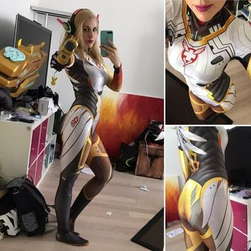 Wonder woman cosplay costume Mercy DVa Suit Mercy Suit D.VA skin concept Mercy Costume Halloween Mercy