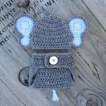 Baby Elephant Outfit Heather Grey Newborn Photo Prop