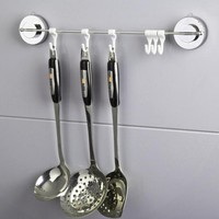 6 Hooks Bathroom Wall Mounted Towel Holder Stainless Steel Vacuum Suction Cup Sucker Hanger Kitchen Tools Organizer Hanging Rack