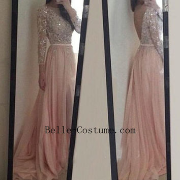 Backless Prom Dress, Appliques Long Sleeve Prom Dresses, Long Sleeve Evening Dress