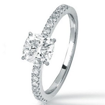 CERTIFIED   0.75 CTW Classic Side Stone Prong Set Diamond Engagement Ring w/ 0.52 Ct Cushion Cut J Color VS2 Clarity Center (Platinum, Yellow, White, Rose)