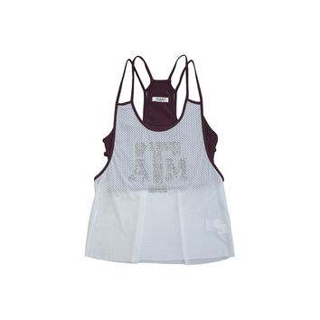 Texas A&M University Mesh Tank with Rhinestones and Attached Sporty Bralette