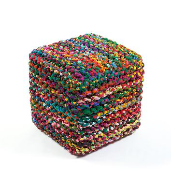Anji Mountain Rainbow Connection Cube Pouf