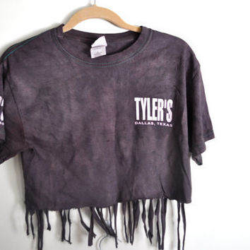 "dark brown & pink frayed ""tyler's"" crop top"