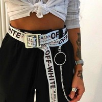 OFF Belt WHITE Women Men White+Black Word Belt B104496-1 White