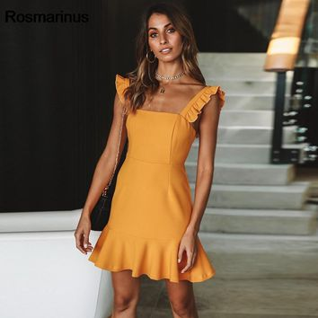 Rosmarinus Women Summer Short Mini Dress Elegant Slash Neck Sleeveless Ruffles Slim Mermaid Dress Backless Sexy Party Dresses