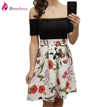 Cute Women Sexy Cocktail Party Off the Shoulder with Sleeves Patchwork Floral Print Casual Skater Dress Short Vestidos