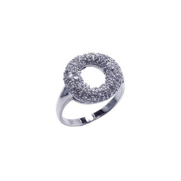 .925 Sterling Silver Rhodium Plated Clear Cubic Zirconia Open Circle Doughnut Ring: Size:5