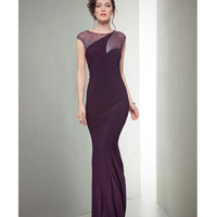 Mignon VM1324 Aubergine Beaded Cap Sleeve Evening Gown Fall 2014