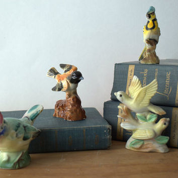 Collection of Mid Century Japanese Hand Painted Porcelain Bird Figurines