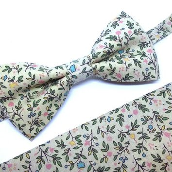 Beige Floral Bow Tie and Pocket Square Set, Wedding Bow Tie, Man Bow Tie, Mens Bow Tie