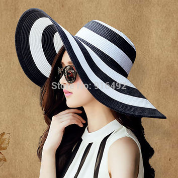 Summer Hats Sun Hat Beach Visor Women Black Beach Hats Summer Girl Strip Vintage Sun Visor Large Hat