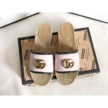 GUCCI tide brand female models straw fisherman shoes one pedal flat shoes fisherman slippers Pink