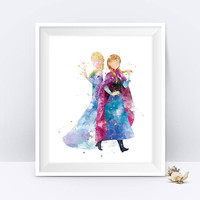 Anna Elsa Print Watercolor Princess Disney Anna Queen Elsa Anna Frozen Watercolor Baby Girl Princess Nursery Decor Wall Art Digital Download