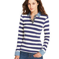 Tommy Hilfiger Chambray-Trim Striped Polo