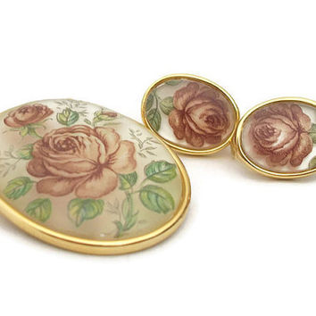 Vintage Rose Transfer Brooch and Clip Earrings Set Demi Parure Oval Clear Plastic Faux Glass Midcentury Floral Flower Clip On Earrings & Pin